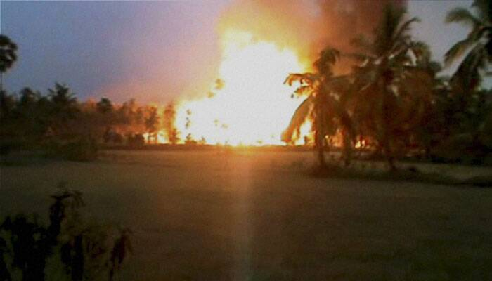 Blazing fire after an explosion at a gas pipeline of Gas Authority of India Limited (GAIL) at Nagaram in the East Godavari district on Friday. (Source: PTI)