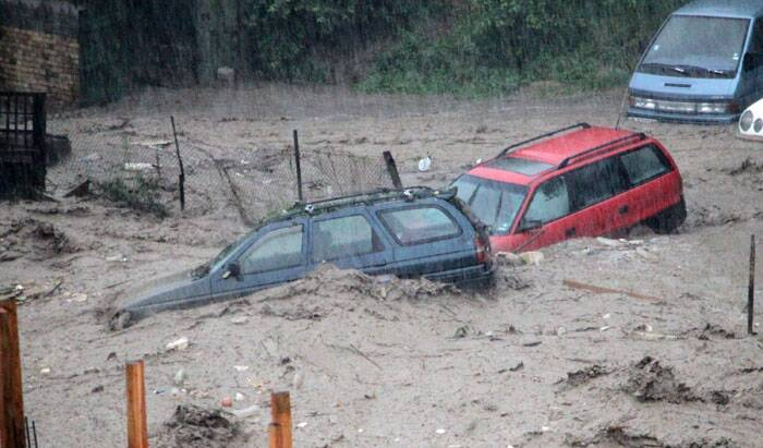 Cars pile up in the flooded area of the Black sea town of Varna, Bulgaria. <br /> The worst hit was the Asparuhovo neighbourhood of the Black Sea port city of Varna, where at least 11 people including two children perished, local authorities said. (Source: AP)