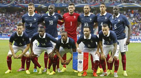 France's football team poses for photographers just before their friendly against Jamaica on Sunday. (Source: Reuters)