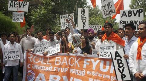 ABVP activists protest against the four-year undergraduate programme (FYUP) of Delhi University in New Delhi on Saturday. Source: PTI Photo