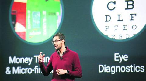 Sundar Pichai, Google's senior vice president of Android, Chrome and Apps, speaks during his keynote speech at the Google I/O developers conference in San Francisco on Wednesday.  ( Source: Reuters )