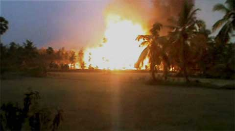 The leaping flames from the pipeline passing through the village in Mamidikuduru mandal quickly swept through nearby houses and coconut plantations, leaving behind a trail of destruction.