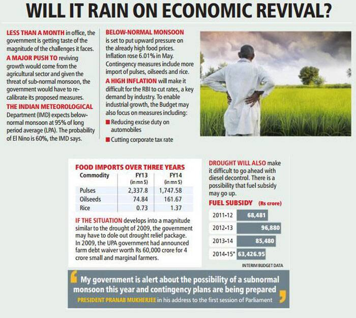 A major push to reviving growth would come from the agricultural sector and given the threat of sub-normal monsoon, the government would have to re-calibrate its proposed measures.