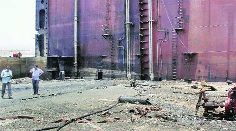 Site of the explosion at Alang ship-breaking yard in Gujarat. (Source: AP)