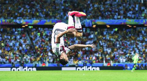Klose celebrates after scoring against Ghana in Fortaleza. It was Klose's 15th World Cup goal. (Source: Reuters)