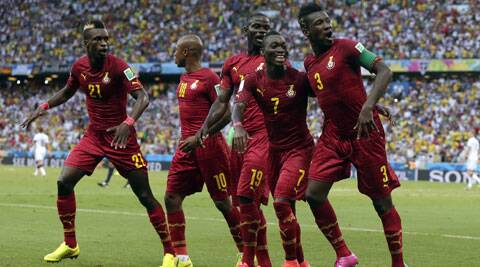 Ghana's Asamoah Gyan (far right) celebrates with his teammates after scoring a goal during their Group G match against Germany. (Source: AP)