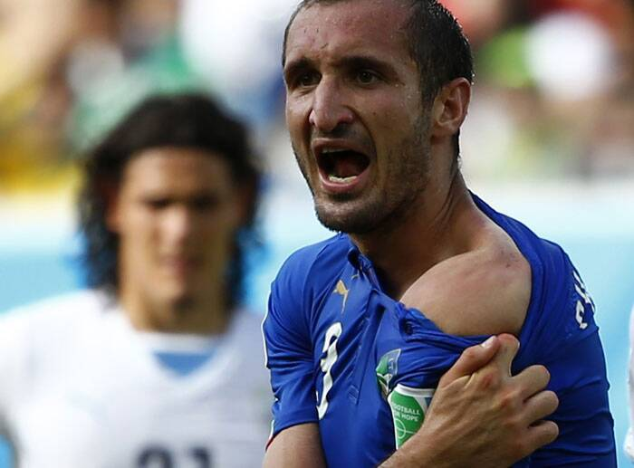 In a do-or-die match for Italy and Uruguay, drama unfolded in the 80th minute when Uruguay star Luis Suarez collided with Italy's Giorgio Chiellini. TV replays showed the Suarez had actually bitten Chiellini on the shoulder. (Source: Reuters)