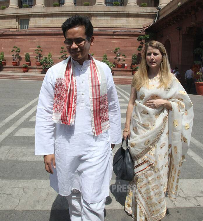 Congress mp Gaurav Gogoi  son of CM Tarun Gogoi with his wife Elizabeth Colburn Gogo  at the Parliament house in New Delhi.   (Source: Express photo by Anil Sharma)