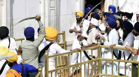 Television cameras recorded images of two Sikh groups, armed with largely blunt ceremonial swords, attacking each other.