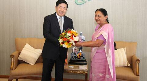 The Ambassador of the People's Republic of China to India, Wei Wei on Thursday met Gujarat chief minister Anandi Patel at Gandhinaga. (Source: IE photo)