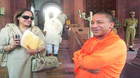 Gorakhpur MP Yogi Adityanath sounds out divisional commissioner. (Source: Express photos)