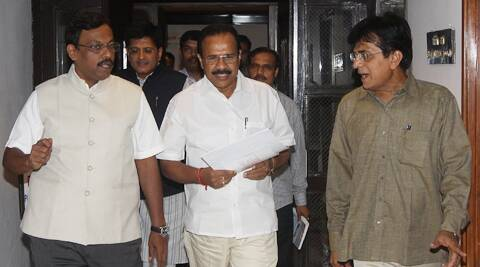 "BJP MP Kirit Somaiya said Gowda assured them of a ""positive"" decision on their demand. (Source: Express Photo)"