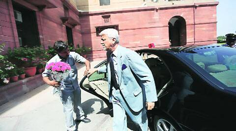 Goa Governor B V Wanchoo arrives for a meeting with Rajnath Singh in North Block Tuesday. ( Source: Express photo by Tashi Tobgyal )