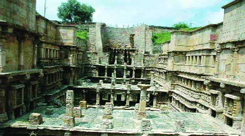 The stepwell, a three-storey structure built in the 10th century as a stop-by point for caravans, was damaged in the earthquake of 2001. file.