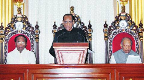 Governor E S L Narasimhan addresses the joint session of the Andhra Pradesh legislature in Hyderabad, Saturday.
