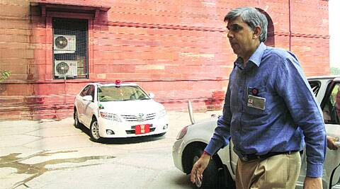 Delhi University Vice-Chancellor Dinesh Singh at the Home Ministry on Wednesday. ( Express Photo by: Prem Nath Pandey )