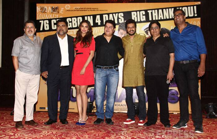 It has not yet been a week since the Sajid Khan comedy film, 'Humshakals' hit screens, however, the celebrations are already in full swing. The film which opened to bad reviews has done extremely well and the director celebrated the success with his actors  Ritesih Deshmukh, Esha Gupta and Ram Kapoor. (Source: Varinder Chawla)