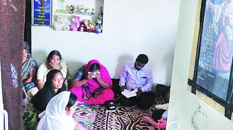 Grieving family of A Samuel, one of the six killed in Bhilai Steel Plant last week. ( Source: Express photo by: Ashutosh bhardwaj  )