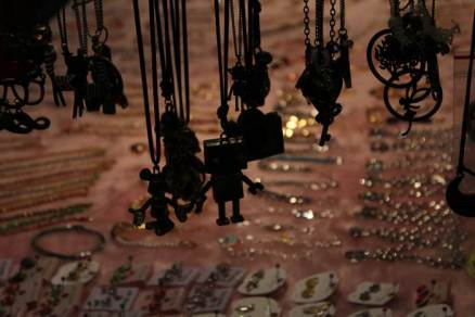 Silhouettes from the market. Fun pendants for sale at Shilin.