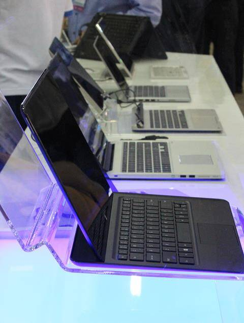 The Llama Mountain reference design alongside other new 2-in-1s at Computex 2014 in Taipei. (Source: Express photo by Nandagopal Rajan)