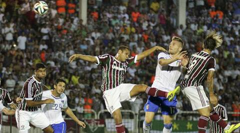 Italy's forward Ciro Immobile, second from right, scores a goal during a World Cup warm up soccer match between Italy and Fluminense at the Cidadania stadium (Source: AP)