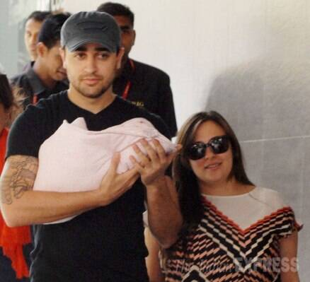 New parents Imran Khan, Avantika take their baby girl home