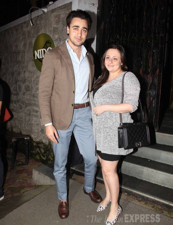 Imran Khan was dapper in brown blazer and grey pants while his wife was seen in a short number and looked very relaxed. (Source: Varinder Chawla)