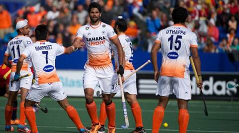 The Indian goalkeeper fought gallantly to effect numerous saves as Spain's strikers often broke past the jittery Indian defence (Source: Hockey India)