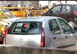 The Indica car that dashed into Munde's SX4.