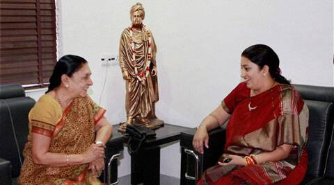 Union Human Resource Development Minister Smriti Irani at a meeting with Gujarat Chief Minister Anandiben Patel, in Gandhinagar on Friday. (Source: PTI)