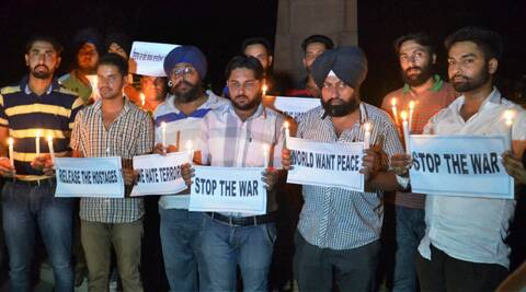 People in Amritsar carried out candle march for the safer return of Indians stranded in Iraq. (Source: PTI)