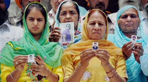 Family members of the Indians who are believed to be trapped in the troubled city of Mosul, Iraq at Golden Temple in Amritsar. (Source: PTI)