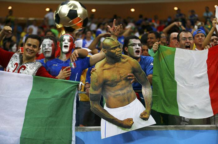Its a Super Mario show: The Italian fans were not disappointed by their super striker who scored the winner against England. (Source: Reuters)