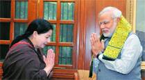 Narendra Modi with J Jayalalithaa at a meeting in New Delhi on Tuesday. 	(PTI)