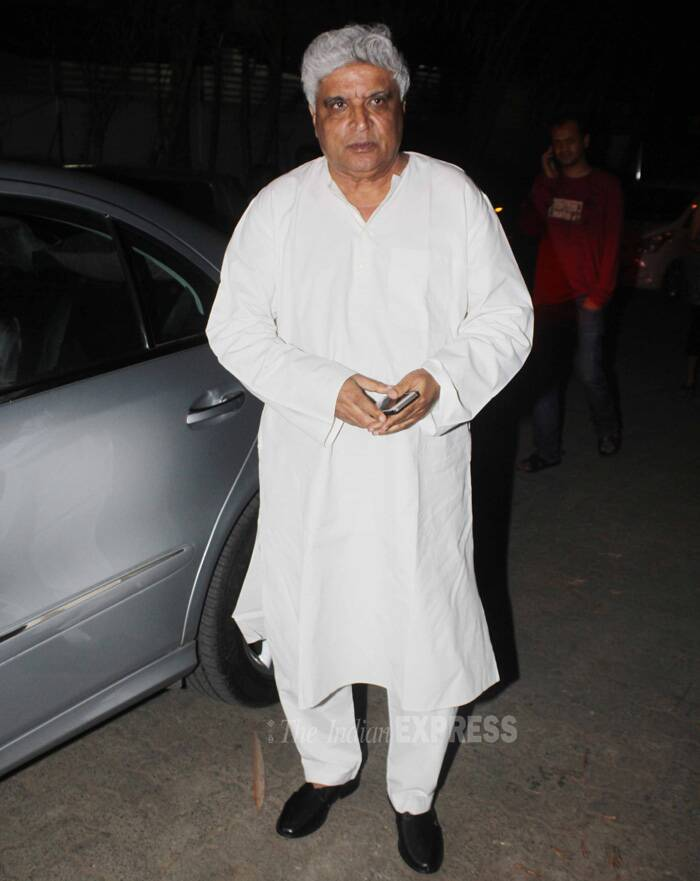 Lyricist Javed Akhtar also arrived to watch 'Holiday: A Solider Is Never Off Duty'. (Source: Varinder Chawla)