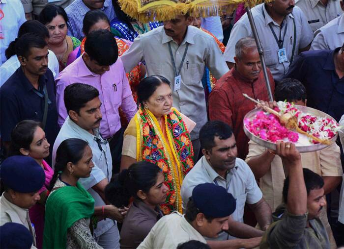 Gujarat Chief Minister Anandi Patel performed the 'Pahind Vidhi' for the rathyatra with a 'golden-broom' (symbolic cleaning of the path for chariot of Lord Jagannath).<br />The first woman chief minister of Gujarat also pulled the chariot, after which the procession of Lord Jagannath, brother Lord Baldev and their sister Subhadra began.<br /><br />Anandiben Patel at the Rath Yatra. (Source: PTI)