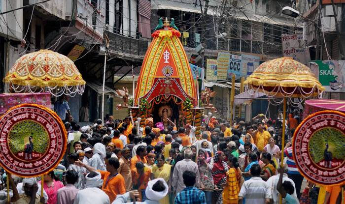 Devotees participate in Jagannath Rath Yatra in Allahabad. (Source: PTI)