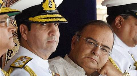 Defece Minister Arun Jaitley with Navy chief Admiral RK Dhowan during the commissioning ceremony of Indian Coast Guard ships 'Achook' and 'Agrim' in Mumbai. (Source: PTI )