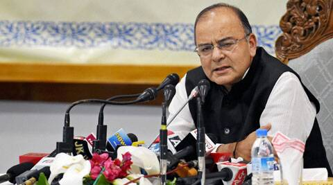 Defence Minister Arun Jaitley addresses a press conference at SKICC in Srinagar on Sunday. (Source: PTI)