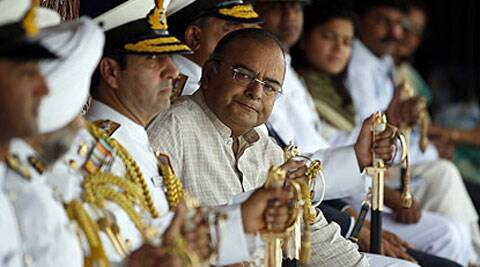 Arun Jaitley attends the commissioning ceremony of the two Indian Coast Guard ships 'Achook' and 'Agrim' at naval dockyard in Mumbai. Reuters