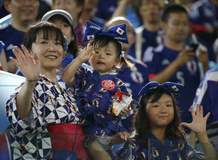 Little Champs: Though Japan is yet to notch up a win at the World Cup their fans have backed them with great fervour. (Source : Reuters)