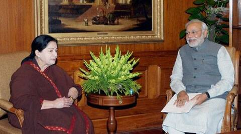 Prime Minister Narendra Modi with Tamil Nadu Chief Minister J Jayalalithaa at a meeting in New Delhi on Tuesday. ( Source: PTI )
