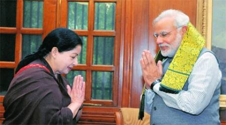 Narendra Modi with J Jayalalithaa at a meeting in New Delhi on Tuesday. (Source: PTI)