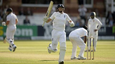 Joe Root celebrates after reaching his century at Lord's on Thursday. (Source: Reuters)
