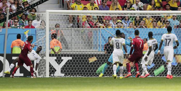 Portugal clashed with Ghana in their Group G match in Brasilia on Thursday. Ghana's John Boye gave an unsavoury edge to Portugal with a shameful own goal in the 31s minute of the match. (Source: AP)