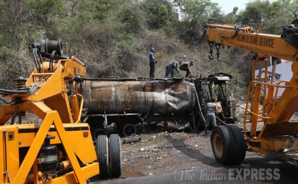 Tanker carrying 20,000 litres of chemical overturns, catches fire