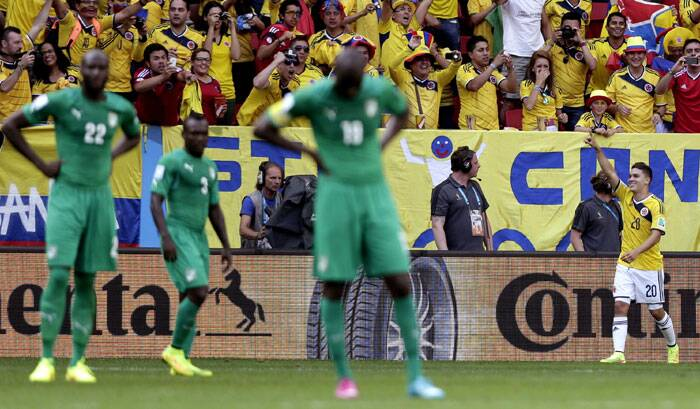 Colombia's Juan Quintero (20) celebrates after scoring his side's second goal during. (Source: AP)