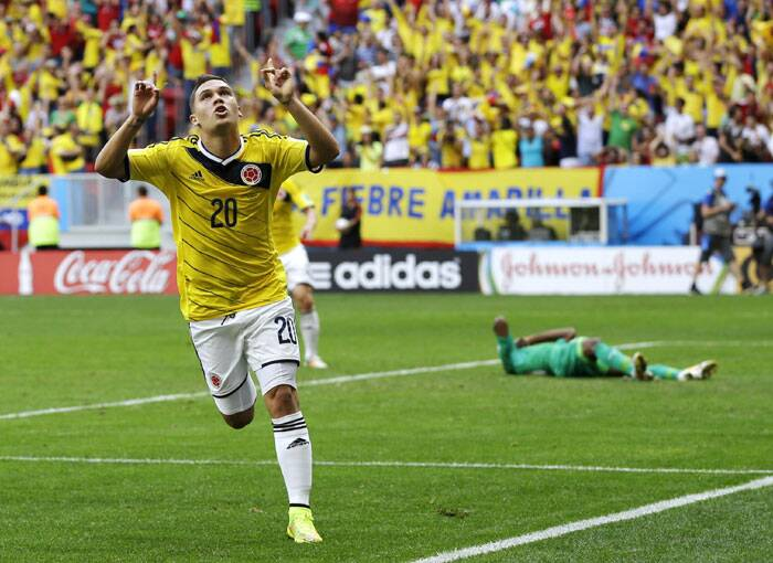 Colombia's Juan Quintero (in pic) gave his side an unprecedented edge over the mighty Les Elephants with a suberb goal. (Source: AP)