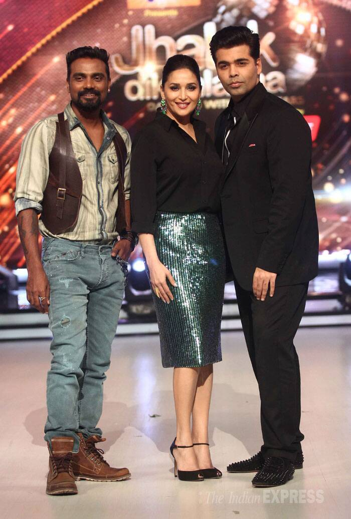 Dancing Queen Madhuri Dixit is all geared up for the upcoming season of reality dance show, 'Jhalak Dikhhla Jaa', as she along with her co-judges Karan Johar and Remo D'Souza attended a press meet launching season 7 of the show. (Source: Varinder Chawla)