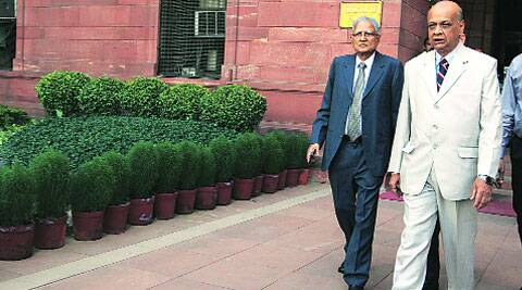 Justice  MB Shah (left) and Justice Arijit Pasayat after attending the first meeting of the SIT on black money at North Block in New Delhi on Monday. (Source: Express photo by Renuka Puri)